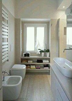 Admirable Narrow Bathroom Design Ideas - Page 3 of 22 Narrow Bathroom, Laundry In Bathroom, White Bathroom, Dream Bathrooms, Beautiful Bathrooms, Casa Milano, Bathroom Interior Design, Bathroom Inspiration, Bathroom Ideas