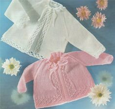 PDF Baby Matinee Coat / Jacket / Cardigan Knitting Pattern : 16 - 20 inch chest . 2 Designs . 3 Ply Yarn Pattern . Instant Digital Download