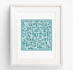 Arabic Calligraphy, Baha'i Calligraphy, Bahai Wall Art, Baha'i Prayers, Kufic Script, Baha'i Writings, Bahai Art - RedTempleArt - F912 by RedTempleArt on Etsy https://www.etsy.com/listing/469740299/arabic-calligraphy-bahai-calligraphy