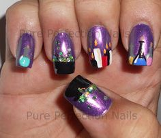 """""""Double, Double"""" Purple Halloween Witch Nail Art"""