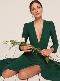 Milan maxi dress emerald green Reformation