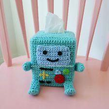 Adventure Time Bee-Mo BMO Inspired Crochet Kleenex Tissue Box Cover Amigurumi