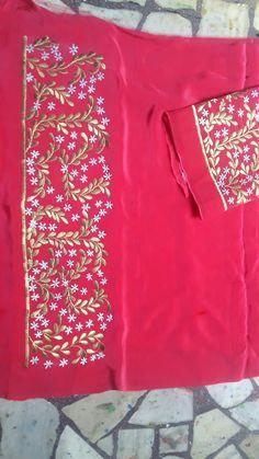 Embroidery On Clothes, Embroidery Fashion, Hand Embroidery, Machine Embroidery, Embroidery Patterns, Punjabi Suits Designer Boutique, Boutique Suits, Simple Embroidery Designs, Embroidery Suits Design