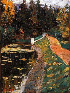Study for sluice - Wassily Kandinsky, Post-Impressionism, landscape Wassily Kandinsky, Monet, Henri Matisse, Landscape Art, Landscape Paintings, Post Impressionism, Art Abstrait, Russian Art, Pablo Picasso