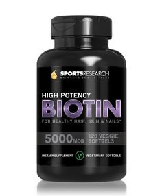 awesome Biotin (High Potency) 5000mcg Per Veggie Softgel; Enhanced with Coconut Oil for better absorption; Supports Hair Growth, Glowing Skin and Strong Nails; 120 Mini-Veggie Softgels; Made In USA.