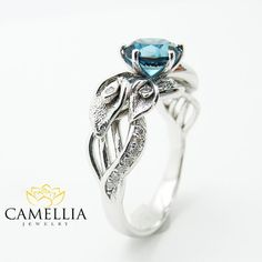 Vintage Ring London Blue Topaz Ring Diamond by CamelliaJewelry