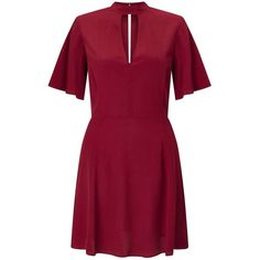 Miss Selfridge Burgundy Tea Dress (2.355 RUB) ❤ liked on Polyvore featuring dresses, burgundy, high neckline dress, miss selfridge, rayon dress, burgundy dress and tea party dresses
