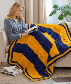 School Colors Blanket Crochet Pattern | Red Heart