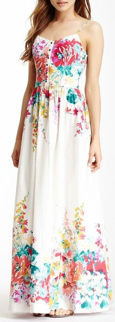 Floral Maxi Dress ♡ I can see this with a cute jean jacket