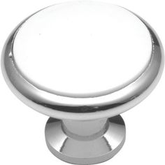 Hickory Hardware Tranquility 1-3/8 in. White Porcelain Chrome Cabinet Knob-P427-26W at The Home Depot