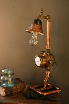 Steampunk Gauge Lamp Water Meter Light Industrial Art Machine Age Salvage in Collectibles, Lamps, Lighting, Lamps: Electric, Table Lamps Pipe Lighting, Industrial Lighting, Vintage Lighting, Cool Lighting, Steampunk House, Steampunk Design, Steampunk Lamp, Lampe Tube, Diy Luminaire