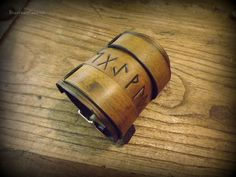 Viking Inspired Runic Leather Wrist Cuffs by BeastmanCaravan