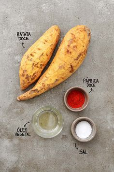 Ingredientes chips de batata doce assado