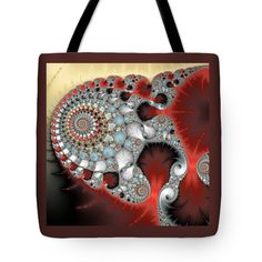Tote Bag: Wonderful abstract fractal spirals red grey yellow and light blue. All tote bags are available in different sizes. (c) Matthias Hauser hauserfoto.com