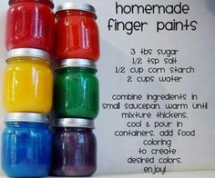 Homemade Finger Paints, really cool idea with young kids.