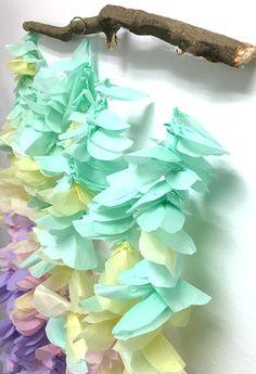 tissue paper flower garland, tissue paper, flowers, petals, branch