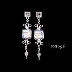 Sterling silver earrings with Roman Glass.