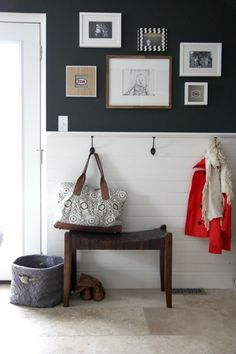 Use a 1x3 on short wall by closet with hooks. I can hang my purse and kids can hang backpacks. Put something pretty over it on the wall for asthetics