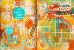 Mixed Media Art Journal Map Art page by Mary C. Nasser using stencils by StencilGirl.