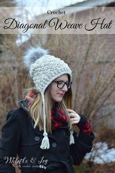 Chunky Diagonal Weave Hat - Get this gorgeous pattern and over 30 others in this beautiful book - Crochet Style. Chunky Crochet Hat, Crochet Adult Hat, Chunky Yarn, Crochet Beanie, Knit Or Crochet, Crochet Crafts, Free Crochet, Knitted Hats, Crochet Style