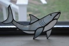 Great White Shark Stain Glass by TriskeleBalance on Etsy