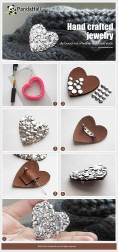 Doesn't have to be a heart or even leather, but this is a simple way to show how we're going to make the chair back broaches. Hand crafted jewelry- diy brooch out of leather and round studs