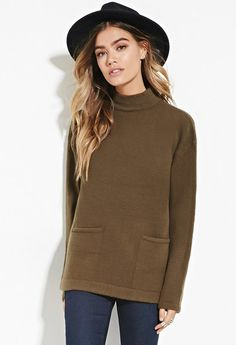 mock neck sweater with pockets Long Sleeve Sweater, Long Sleeve Tops, Haute Couture Style, Loose Shirts, Pullover, Forever 21 Sweater, Brown Sweater, Black Trim, Mock Neck