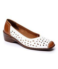 Look what I found on #zulily! White Calf & Tan Rashida Leather Flat by ara #zulilyfinds