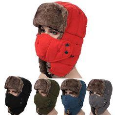 59e3b4e1a9d Mens Velvet Winter Russian Hats Outdoor Skiing Windproof With Masks Lei  Feng Cap  skihat