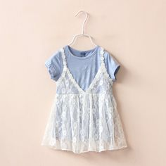 >> Click to Buy << 2016 new fake 2pcs baby girl dresses lace flower girls clothes casual infant girls outfits blue cotton roupas infantis menina #Affiliate