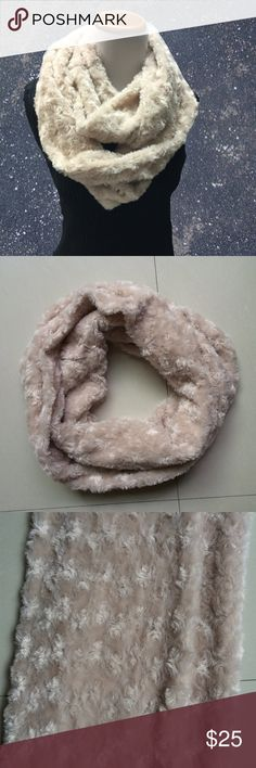 Super Soft Beige Faux Fur Infinity Scarf Amazingly soft and sooo pretty. Infinity scarf in beige. Has rosette design in fur. Must have for fall & winter! Accessories Scarves & Wraps