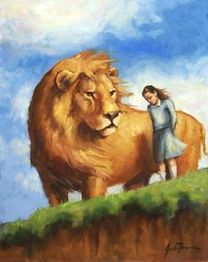 This is a scene from Narnia: The Silver Chair by C. Jill and Eustace enter Narnia and shortly thereafter, they discover a cliff. Remember the Signs Aslan Narnia, The Silver Chair, Chronicles Of Narnia Books, Prophetic Art, Lion Of Judah, Cs Lewis, Fantasy, Lions, Science Fiction