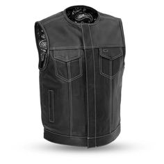 Ultra cowhide is used to make this unique black paisley banana lined club style vest by First MFG. vest with black top-stitch detail and a quick access concealed carry pocket. Motorcycle Leather Vest, Biker Leather, Motorcycle Outfit, Leather Men, Cowhide Leather, Black Denim Vest, Black Leather Vest, Sons Of Anarchy Vest, Vest Coat