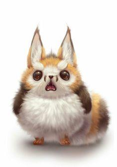 Cute Animal Illustration, Cute Animal Drawings, Cartoon Drawings, Cute Drawings, Cute Funny Animals, Cute Baby Animals, Cute Fox, Anime Animals, Cute Chibi