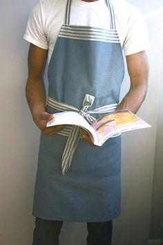 Mens apron chefs apron grilling apron navy nautical by SSatHome, $35.00