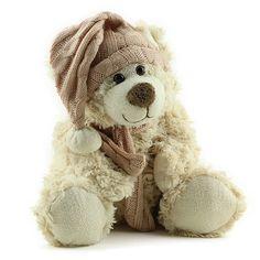 Urso Pelúcia Bege Touca e Cachecol Rosa