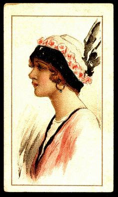 Cigarette Card - Beauties in Picture Hats | Flickr Will's Scissors Cigarettes, India 1914