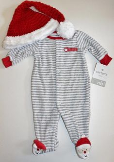 c5c3a0cf1 Baby Boys Carter's First Christmas Santa Winter Pajamas Sleepwear Crochet  Hat NB | eBay