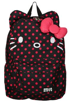 NWT Loungefly Hello Kitty Black with Pink Polka Dots   Ears Backpack   Bow 58bb5d6689c67