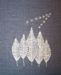 Fly stitch white on blue by Agne