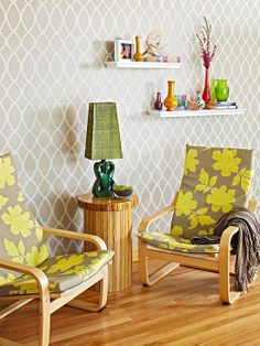 Use a stencil to transform a blank wall! More savvy decor and design ideas under 50 dollars: http://www.bhg.com/decorating/budget-decorating/cheap/cheap-savvy-decor-design-ideas/?socsrc=bhgpin082413stencilwall