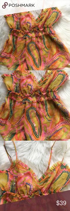 NWT FREE PEOPLE SILKY BABYDOLL TOP GORGEOUS FREE PEOPLE CHIFFON BABYDOLL TOP IN A BEAUTIFUL ARRAY OF SWIRLING HUES ADORNED WITH TINY IRIDESCENT BEADS. DOUBLE LAYER  FLOUNCY FABRIC WITH GATHERED EMPIRE WAIST AND ADJUSTABLE STRAPS. S Free People Tops