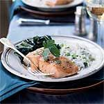 Slow-Roasted Salmon with Bok Choy and Coconut Rice Recipe | MyRecipes.com