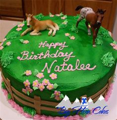 Horse pasture cake with pink flowers and keepsake horse toys #bighorncakes…