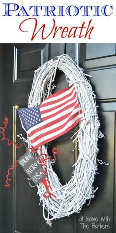 Patriotic Wreath-American Flag-Memorial Day-At Home with The Barkers #memorialday #wreath