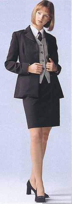 Smart for work. Skirt Suit, Dress Skirt, Women Wearing Ties, Women Ties, Suit And Tie, Work Attire, Pencil Dress, Girls Wear, Secretary