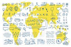 Hand draw map set elements by Kalinin on @creativemarket
