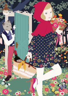 by Mari Katogi Little Red Riding Hood Little Red Ridding Hood, Red Riding Hood, American Illustration, Graphic Illustration, Magazine Illustration, Charles Perrault, Big Bad Wolf, Wonderland, Red Hood