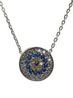 """CZ Evil Eye Pendant Necklace Cubic Zirconias sparkle on an eye-catching pendant suspended from a delicate chain. Rhodium plated brass. Adjustable for 16"""" or 18"""" length. IN STOCK!"""