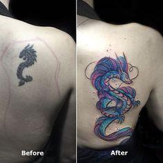Coverup  #tattoo #inked #dragontattoo #nadink #watercolortattoo